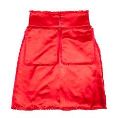 CHANEL Paris-Shanghai 2010 Skirt in Red Duchesse Satin Size 38FR
