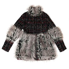 CHANEL Long Jacket in Multicolored Tweed and Gray Faux Fur Size 36FR