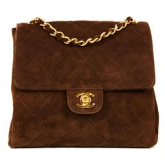 CHANEL Vintage Shoulder Bag in Brown Suede Leather