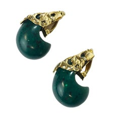 ISABEL CANOVAS Large Clip-on earrings in Gilt Metal and Malachite Green Resin