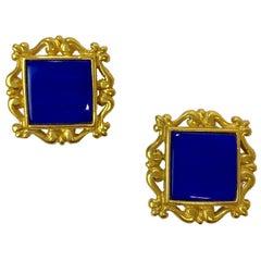 YSL YVES SAINT LAURENT Vintage Clip-on Earrings in Gilt Metal and Blue Resin