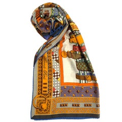HERMES Collier de Chien Shawl in Orange Cashmere and Silk