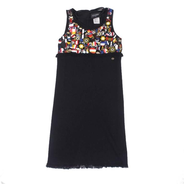 CHANEL Dress in Black Wool with Flags Embroidery Size 38EU