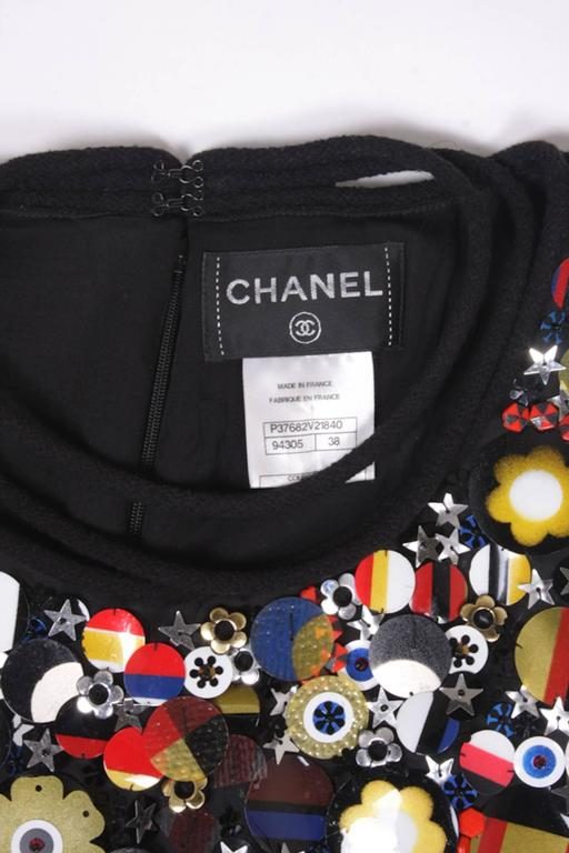 CHANEL Dress in Black Wool with Flags Embroidery Size 38EU For Sale 1