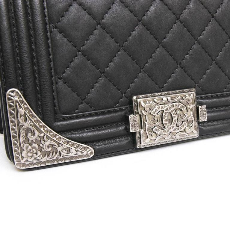 Chanel 'Paris Dallas' Boy Flap Bag in Black Quilted Leather 8