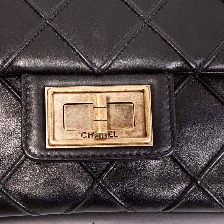 CHANEL Clasp 2.55 Black Smooth Lamb Leather Bag 7
