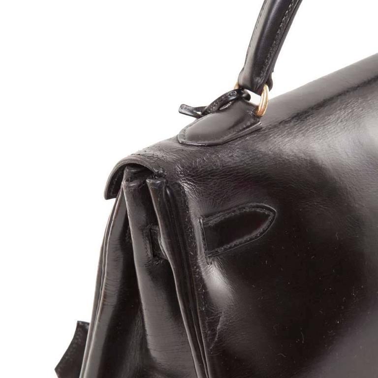 HERMES Vintage Kelly 32 Black Box Leather Bag 7
