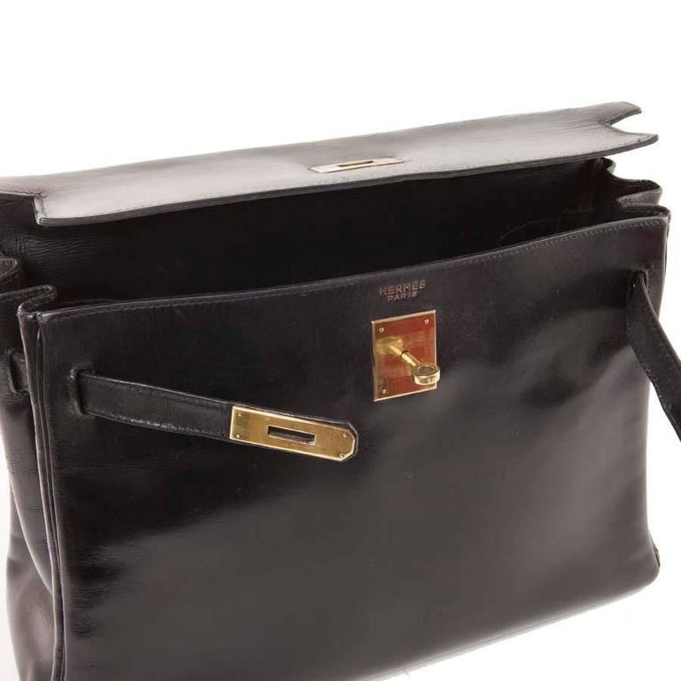HERMES Vintage Kelly 32 Black Box Leather Bag 9