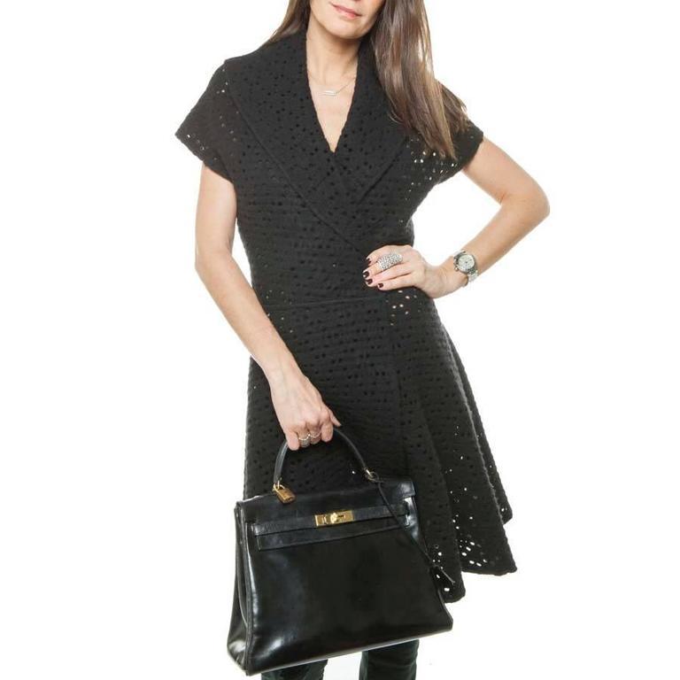 HERMES Vintage Kelly 32 Black Box Leather Bag 10
