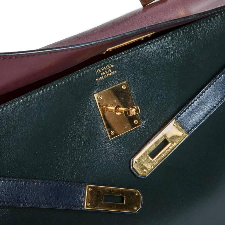 Vintage HERMES Kelly 32 Navy Blue, Burgundy and Green English Leather 9