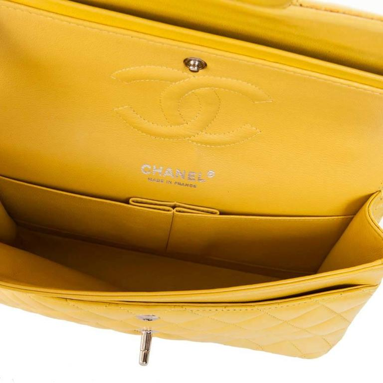 CHANEL  Classic Double Flap Bag Quilted Yellow Leather For Sale 3