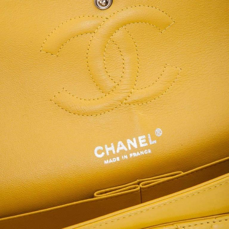 CHANEL  Classic Double Flap Bag Quilted Yellow Leather For Sale 5