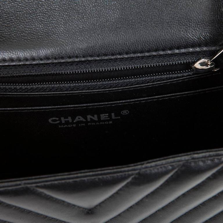 Mini Chanel Quilted Black Lamb Leather Shoulder Bag For Sale 5