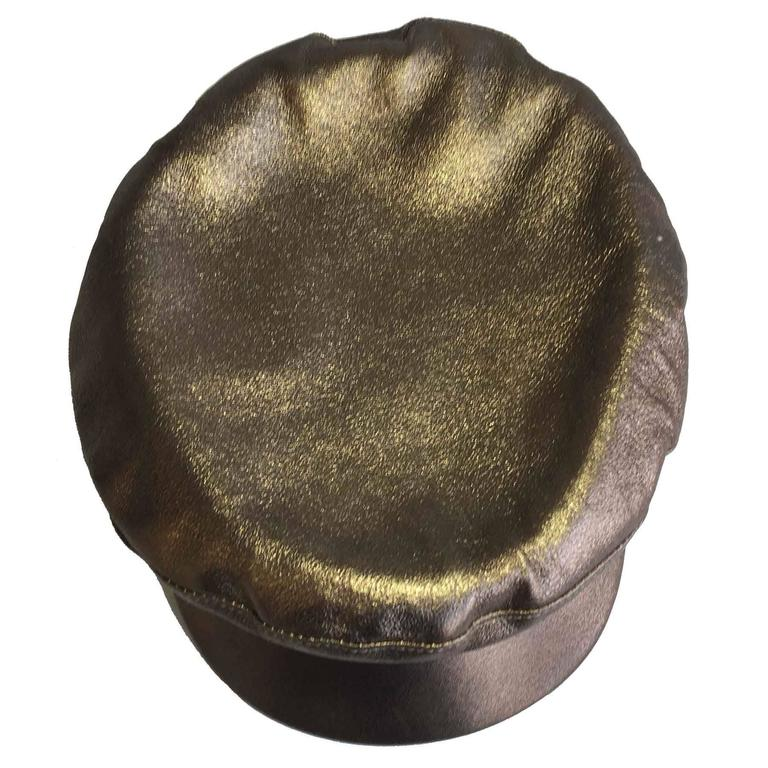 Hermès Leather Cap in Bronzed Leather T58 For Sale 2