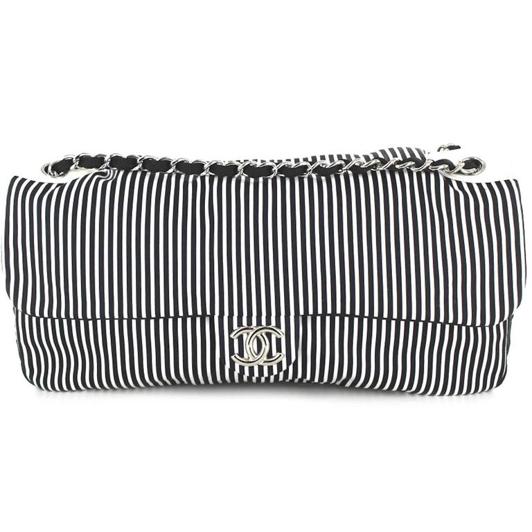 Black CHANEL Bag in Canvas White and Blue Stripes For Sale