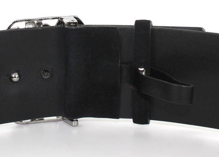 CHANEL Belt Size 80 in Black Velvet Calfskin Black and Silver Plated Buckle 6