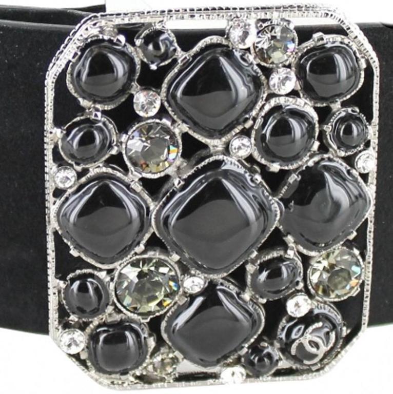 CHANEL Belt Size 80 in Black Velvet Calfskin Black and Silver Plated Buckle 7