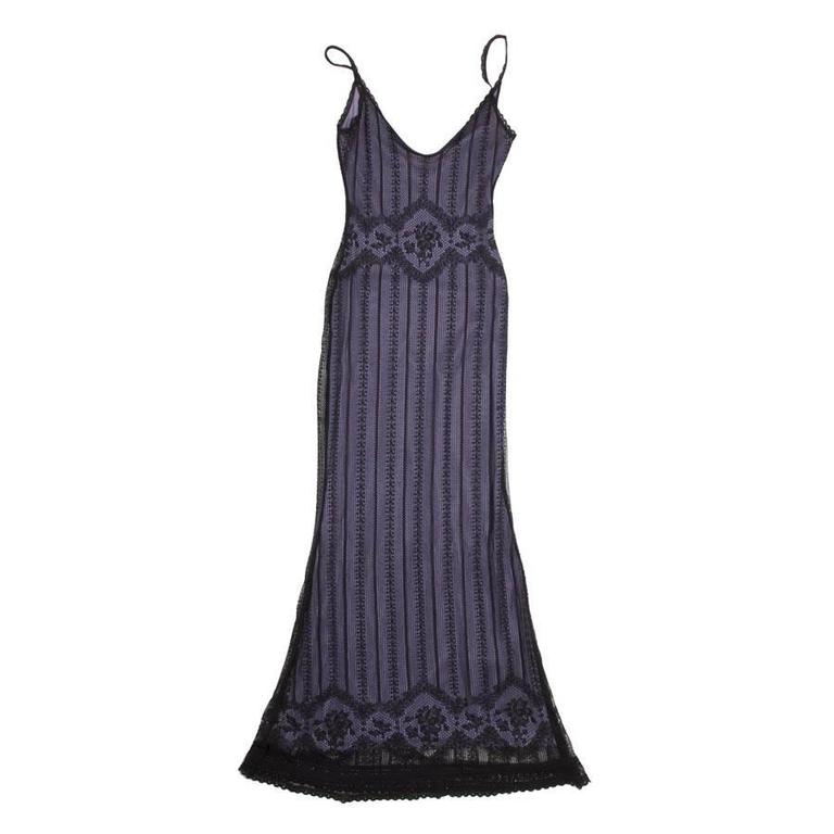 CHRISTIAN DIOR Dress in Black Lace and Purple Lining Size S