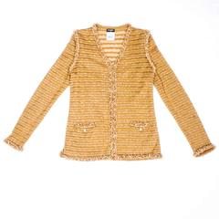 CHANEL 'Paris-Dubai' Collection Jacket Size38 FR Gold Color and Glass Pearls