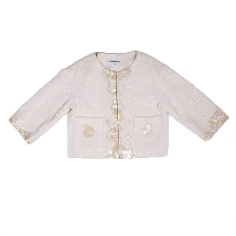 CHANEL Vest 'The Seabed' in Ivory Color Size 38FR For Sale