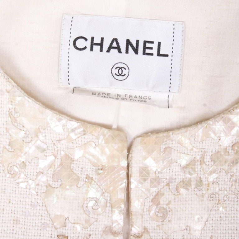 CHANEL Vest 'The Seabed' in Ivory Color Size 38FR For Sale 3
