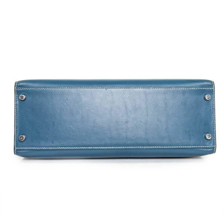 HERMES 'Kelly 2' 32 Bag in Blue Jean Leather 4