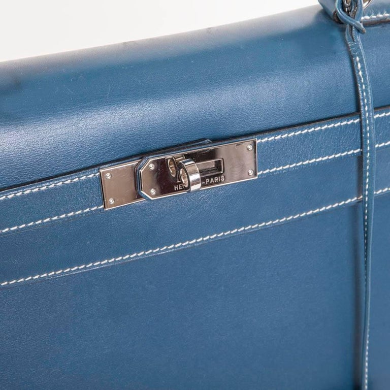 HERMES 'Kelly 2' 32 Bag in Blue Jean Leather 6