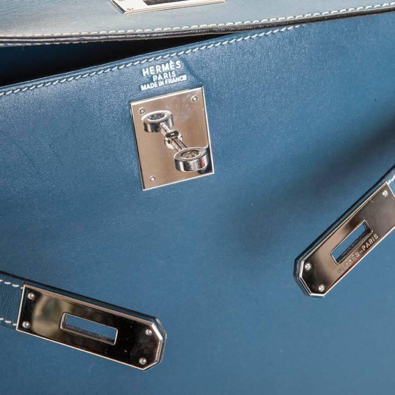 HERMES 'Kelly 2' 32 Bag in Blue Jean Leather 7
