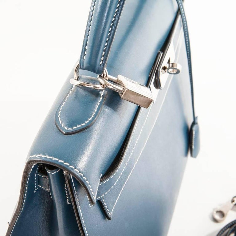 HERMES 'Kelly 2' 32 Bag in Blue Jean Leather 8
