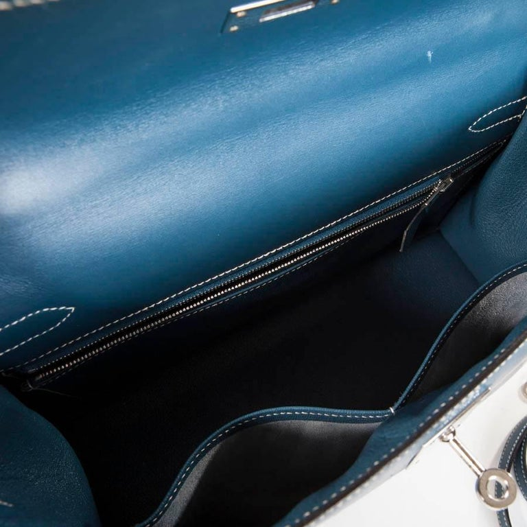 HERMES 'Kelly 2' 32 Bag in Blue Jean Leather 9
