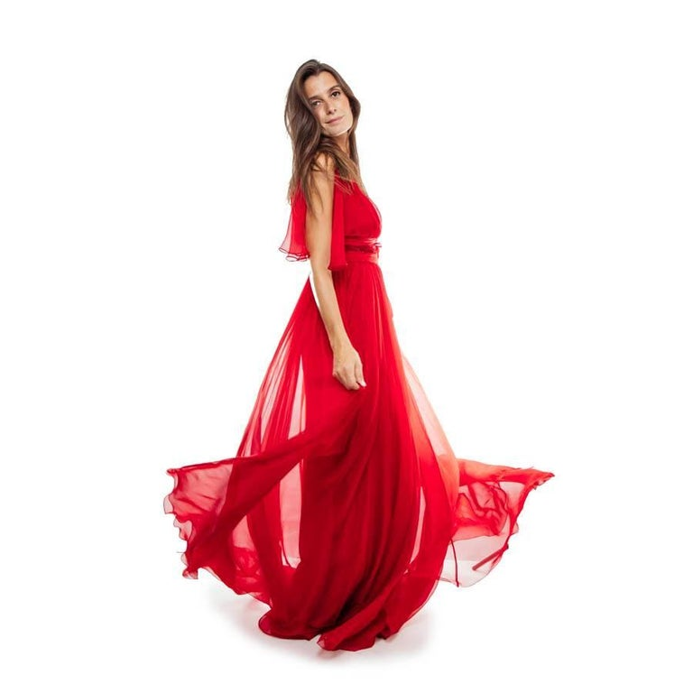 ELIE SAAB Evening Gown in Red Chiffon Size 38EU In Excellent Condition For Sale In Paris, FR