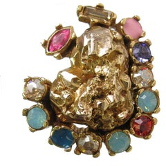 YVES SAINT LAURENT Heart Ring in Gilded Metal and Multicolored Rhinestones S49EU