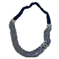 CHANEL Headband in Matte Silver Plated Chains, CC with Rhinestones and Brillants