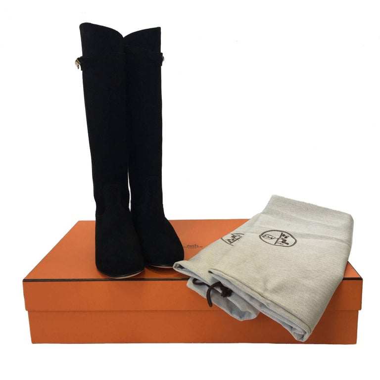 HERMES Riding Boots in Black Suede Size 36.5EU For Sale 6