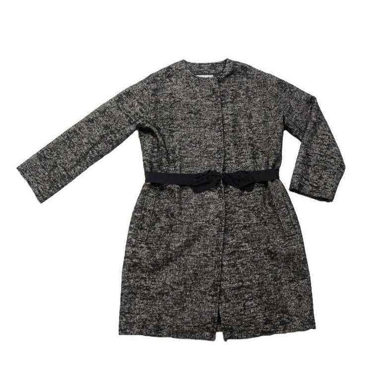 LANVIN Long Coat in Black and White Linen, Wool and Alpaca Size 44EU