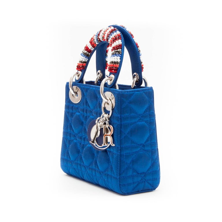 CHRISTIAN DIOR Lady D Bag In Electric Blue Silk Satin 5