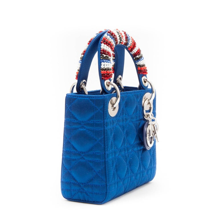 CHRISTIAN DIOR Lady D Bag In Electric Blue Silk Satin 6