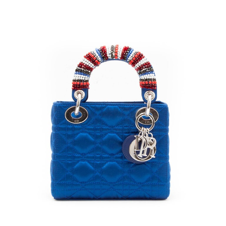 CHRISTIAN DIOR Lady D Bag In Electric Blue Silk Satin 2