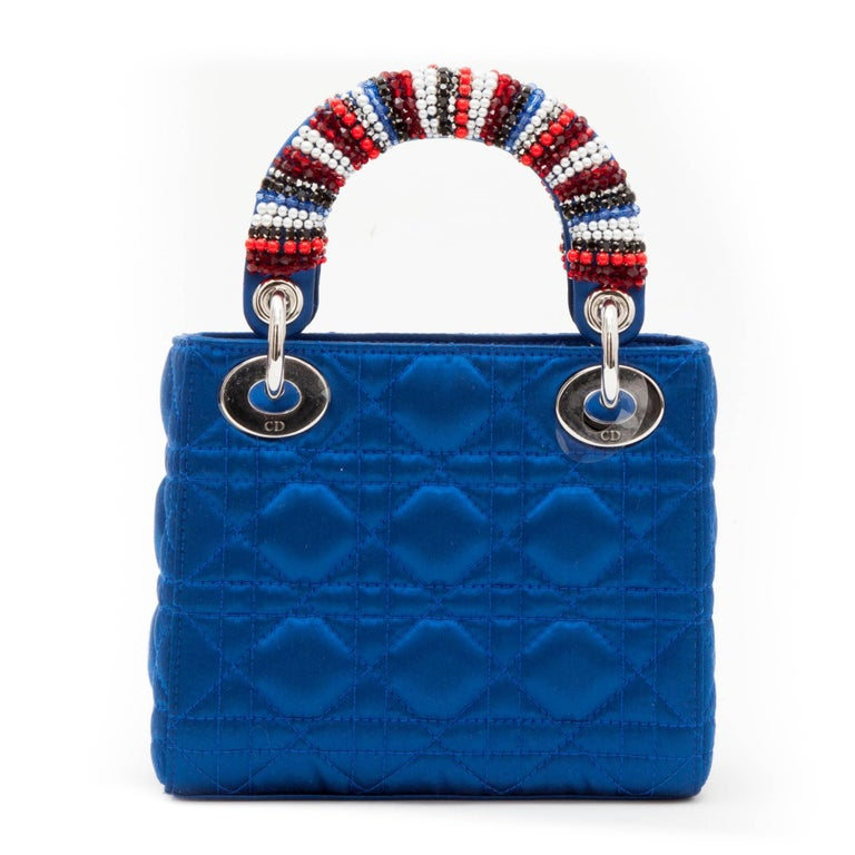 CHRISTIAN DIOR Lady D Bag In Electric Blue Silk Satin 4
