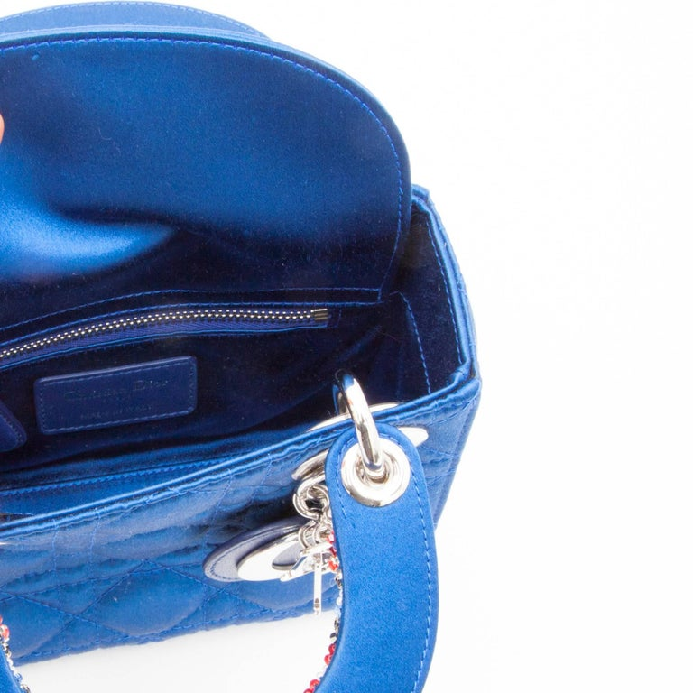 CHRISTIAN DIOR Lady D Bag In Electric Blue Silk Satin 10