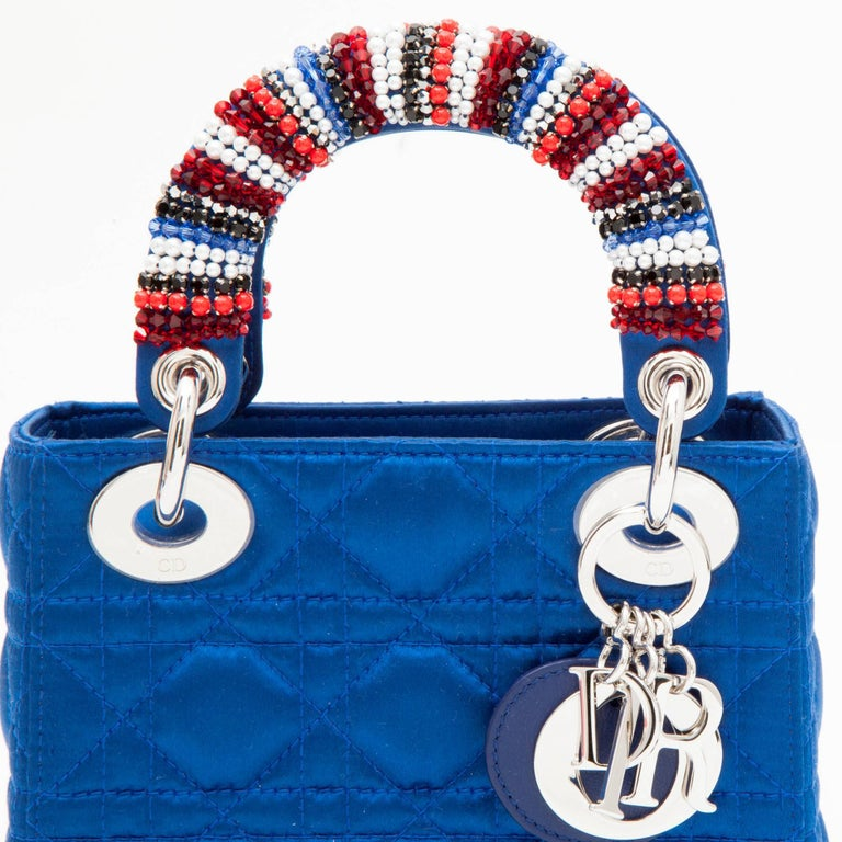 CHRISTIAN DIOR Lady D Bag In Electric Blue Silk Satin 3