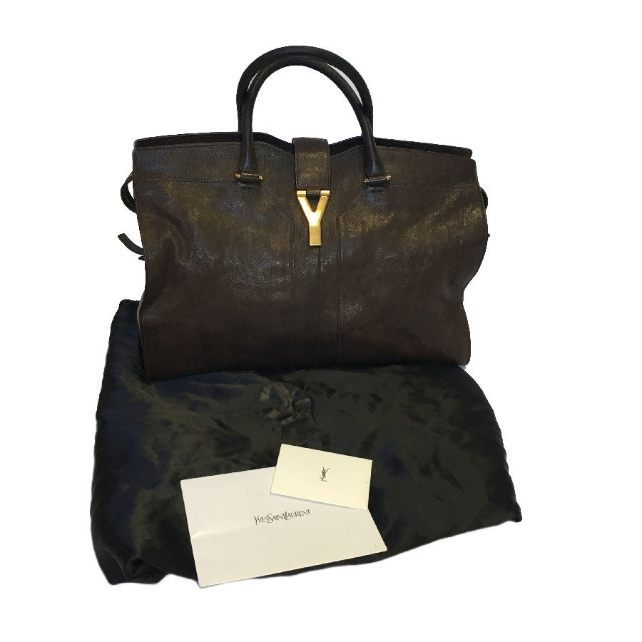 f3bdf60fbcab YSL Yves Saint Laurent Chyc Model Tote Bag in Brown Leather For Sale at  1stdibs