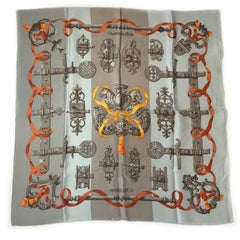 HERMES Small 'Ferronnerie' Scarf in Taupe and Gray Silk