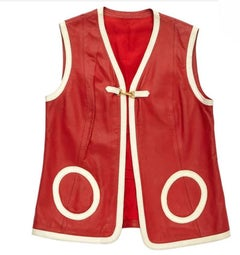 HERMES Sport Vintage Sleeveless Cardigan in Red Leather Size 40FR