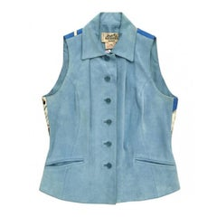 HERMES Vintage Sleeveless Jacket in Blue Sky Suede and Printed Silk Back 40FR