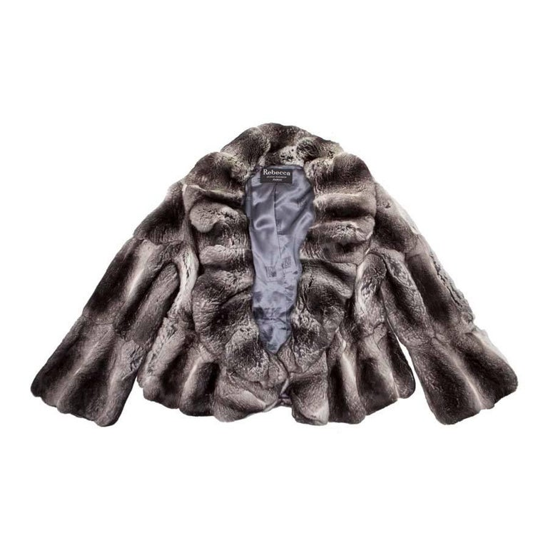 REBECCA Loose Jacket in Gray Chinchilla Fur Size 46FR