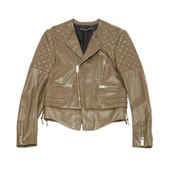 BALENCIAGA Perfecto Jacket in taupe Lamb Leather Size 38FR