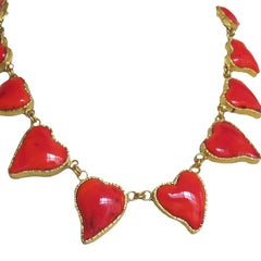 "Marguerite de Valois ""Heart"" Necklace in Red Molten Glass"
