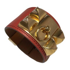"Hermes CDC Cuff Bracelet ""Collier de Chien"" in Sanguine Tadelakt Calfskin"
