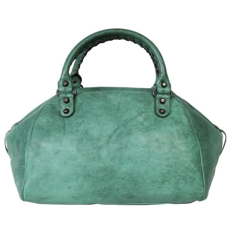 BALENCIAGA  Green Leather Bag  In Good Condition For Sale In Paris, FR